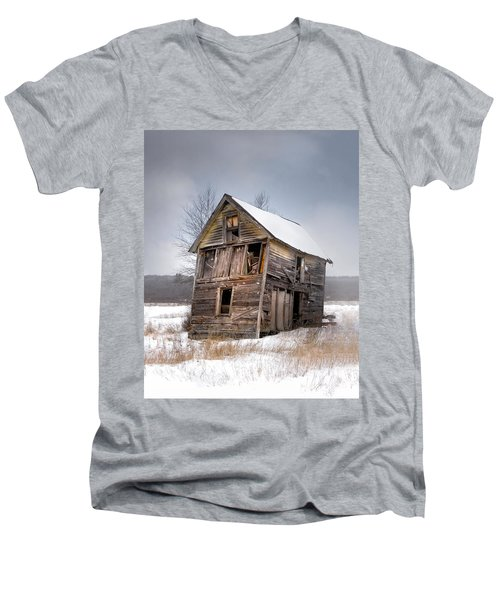 Portrait Of An Old Shack - Agriculural Buildings And Barns Men's V-Neck T-Shirt