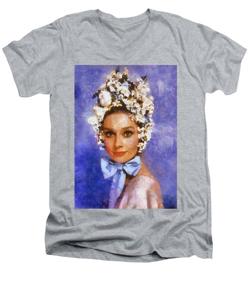 Portrait Of Audrey Hepburn Men's V-Neck T-Shirt