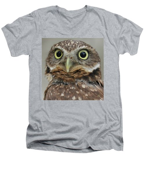 Portrait Of Burrowing Owl Men's V-Neck T-Shirt