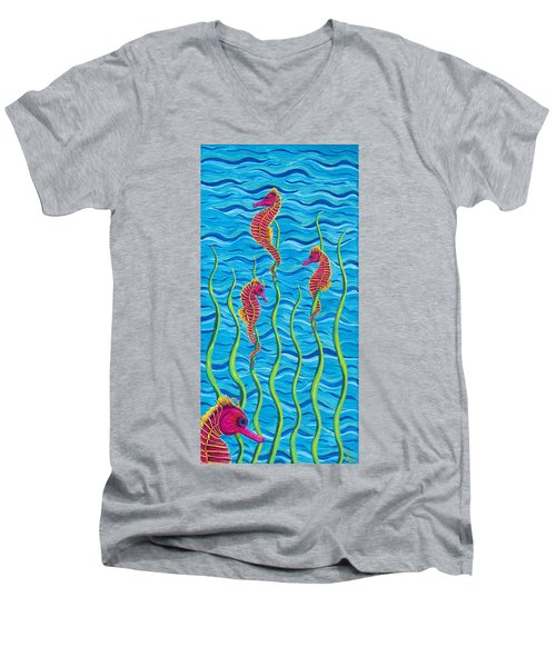 Poseidon's Steed Painting Bomber Men's V-Neck T-Shirt
