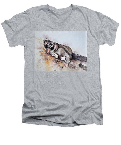 Possum Cute Sugar Glider Men's V-Neck T-Shirt by Sandra Phryce-Jones