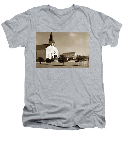 Post Chapel And Red Cross Building Fort Ord Army Base California 1950 Men's V-Neck T-Shirt