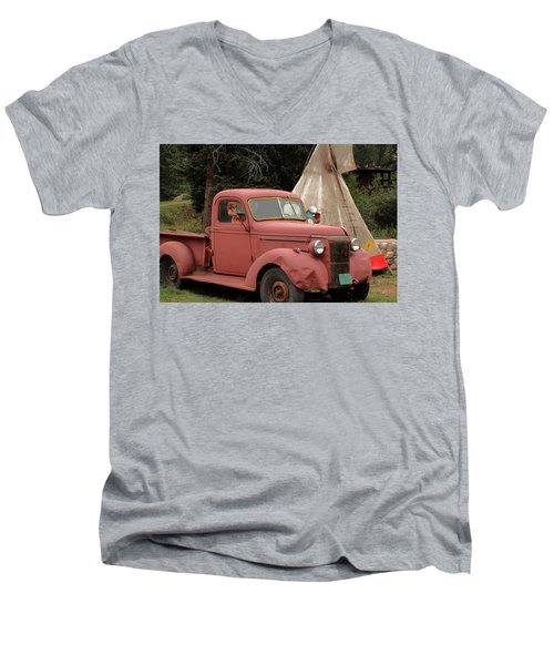 Men's V-Neck T-Shirt featuring the photograph Postcard From Yesterday by Lynn Sprowl