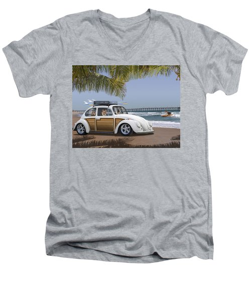 Postcards From Otis - Beach Corgis Men's V-Neck T-Shirt