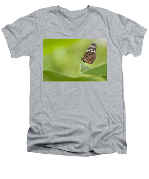 Men's V-Neck T-Shirt featuring the photograph Postman On A Leaf by Bryan Keil