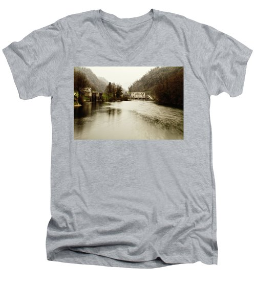 Power Plant On River Men's V-Neck T-Shirt