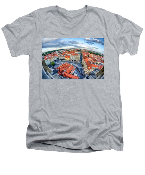 Prague From Above Men's V-Neck T-Shirt