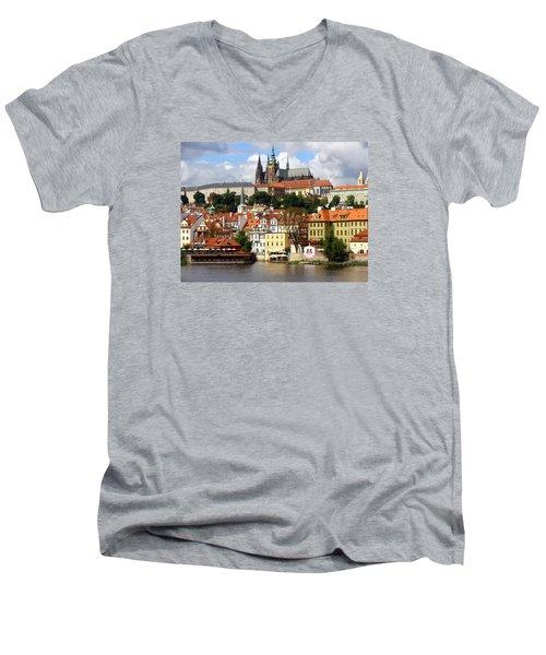 Men's V-Neck T-Shirt featuring the photograph Prague Skyline by Ira Shander