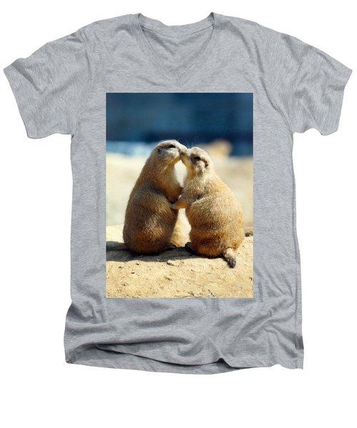 Prairie Dogs Kissing Men's V-Neck T-Shirt