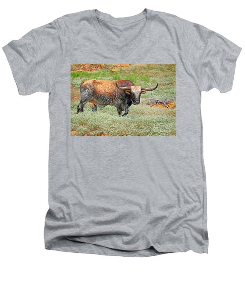 Prairie Longhorn Men's V-Neck T-Shirt
