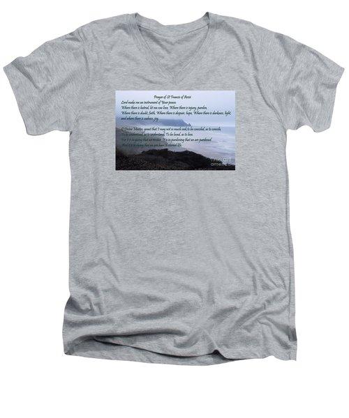 Prayer Of St Francis Of Assisi Men's V-Neck T-Shirt