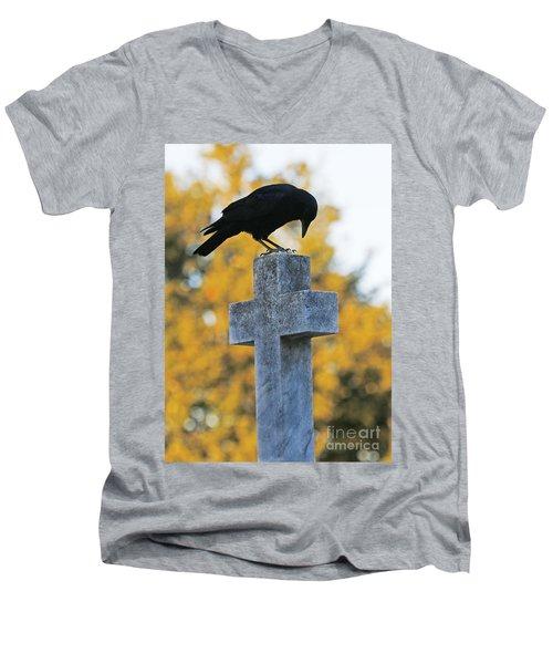Praying Crow On Cross Men's V-Neck T-Shirt