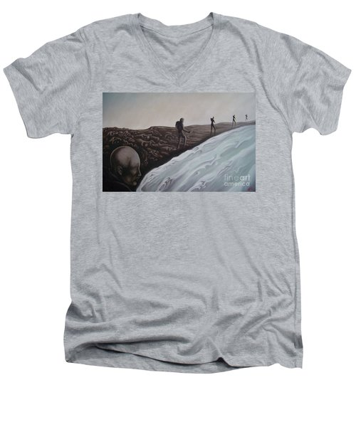 Men's V-Neck T-Shirt featuring the painting Premonition by Michael  TMAD Finney