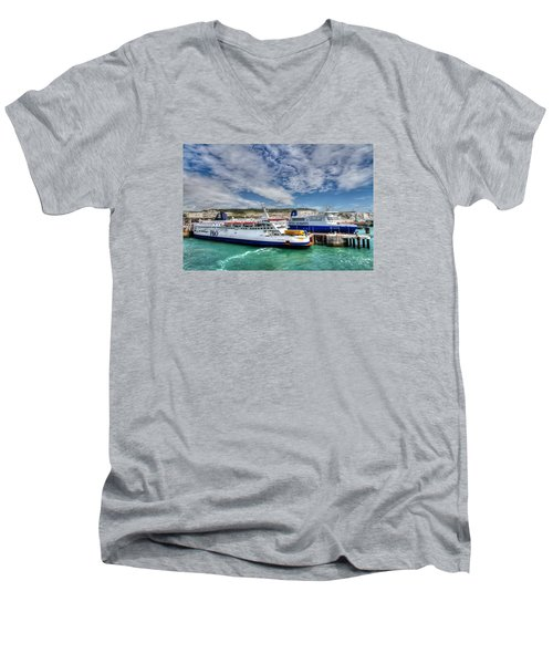 Preparing To Cross The Channel Men's V-Neck T-Shirt by Tim Stanley