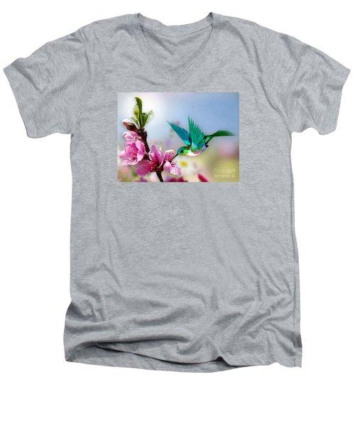 Pretty Hummingbird Men's V-Neck T-Shirt by Morag Bates