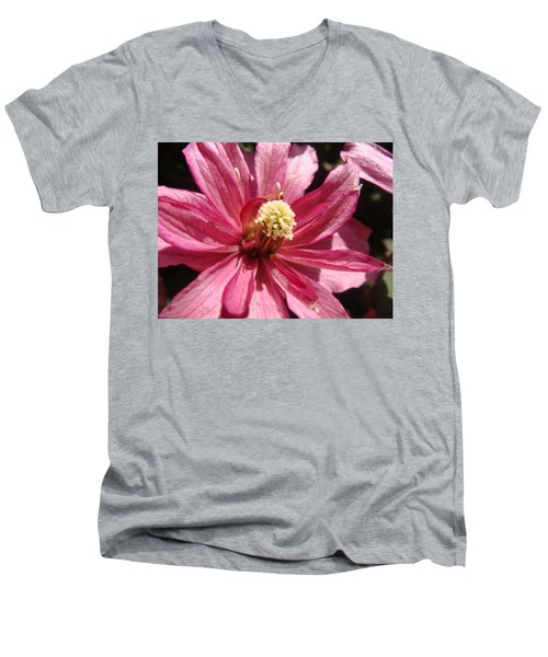 Men's V-Neck T-Shirt featuring the photograph Pretty In Pink by Cheryl Hoyle