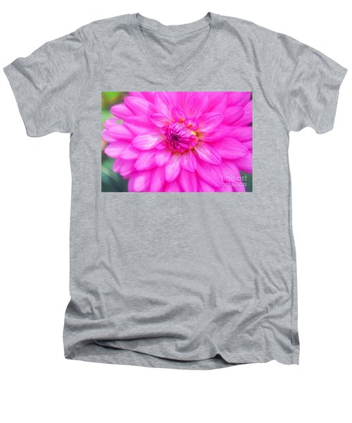 Pretty In Pink Dahlia Men's V-Neck T-Shirt