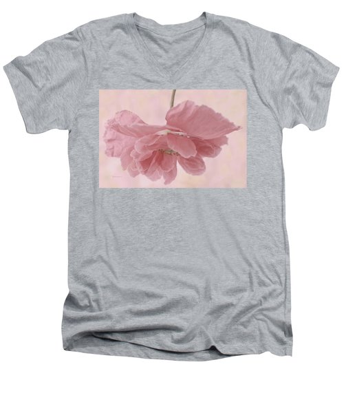 Men's V-Neck T-Shirt featuring the photograph Pretty Pink Poppy Macro by Sandra Foster