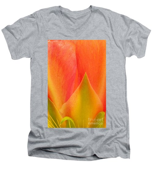Men's V-Neck T-Shirt featuring the photograph Prickly Pear Flower Petals Opuntia Lindheimeni In Texas by Dave Welling