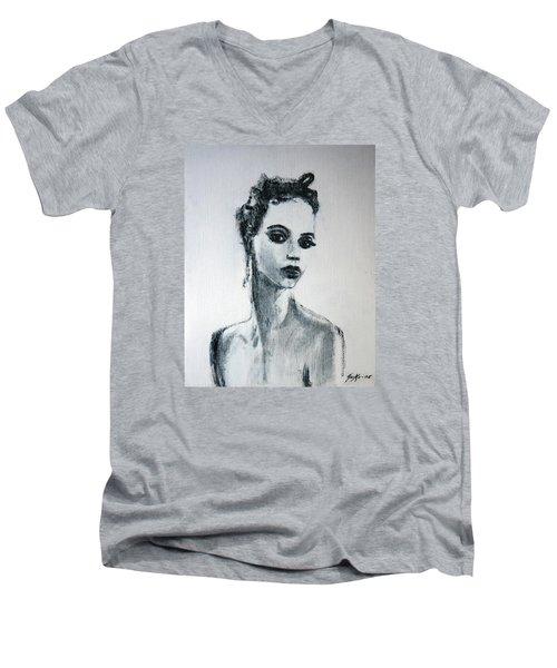 Men's V-Neck T-Shirt featuring the painting Primadonna by Jarmo Korhonen aka Jarko