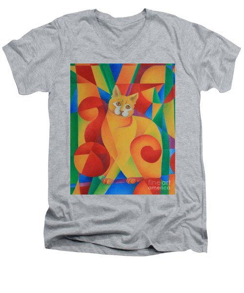 Men's V-Neck T-Shirt featuring the painting Primary Cat II by Pamela Clements