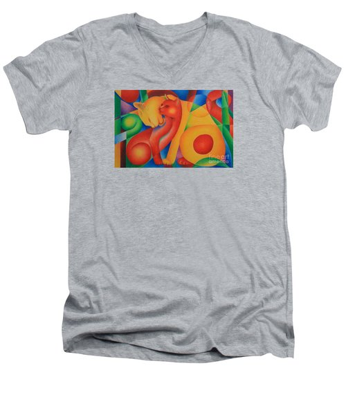 Men's V-Neck T-Shirt featuring the painting Primary Cats by Pamela Clements