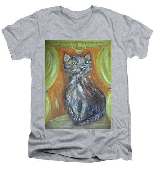 Men's V-Neck T-Shirt featuring the painting Princess Kitty by Teresa White