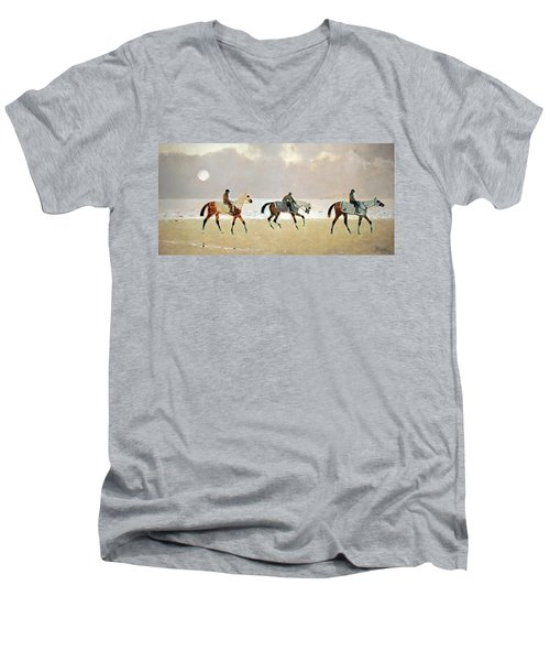 Princeteau's Riders On The Beach At Dieppe Men's V-Neck T-Shirt