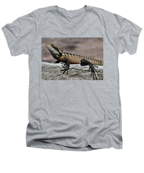 Men's V-Neck T-Shirt featuring the photograph Profile Of A Waterdragon by Miroslava Jurcik