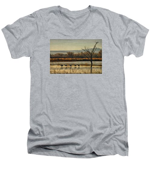 Promenade Of The Cranes Men's V-Neck T-Shirt by Priscilla Burgers