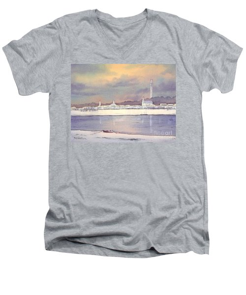Men's V-Neck T-Shirt featuring the painting Provincetown Evening Lights by Bill Holkham