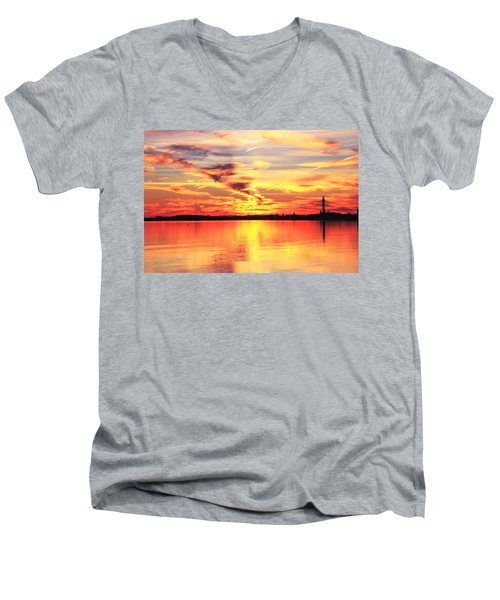 Men's V-Neck T-Shirt featuring the photograph Provincetown Harbor Sunset by Roupen  Baker