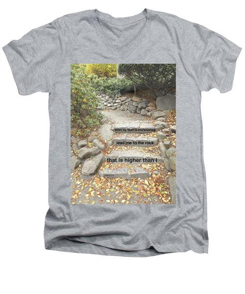 Men's V-Neck T-Shirt featuring the photograph Psalm 61 2 by Joan Reese