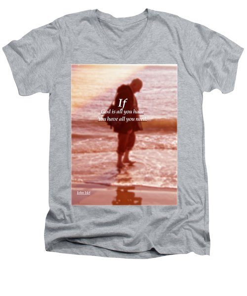 Men's V-Neck T-Shirt featuring the photograph Psalm  John 14 8 by Joan Reese