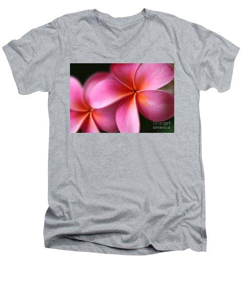 Men's V-Neck T-Shirt featuring the photograph Pua Lei Aloha Cherished Blossom Pink Tropical Plumeria Hina Ma Lai Lena O Hawaii by Sharon Mau