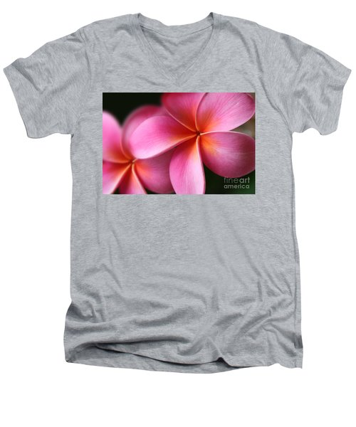 Pua Lei Aloha Cherished Blossom Pink Tropical Plumeria Hina Ma Lai Lena O Hawaii Men's V-Neck T-Shirt