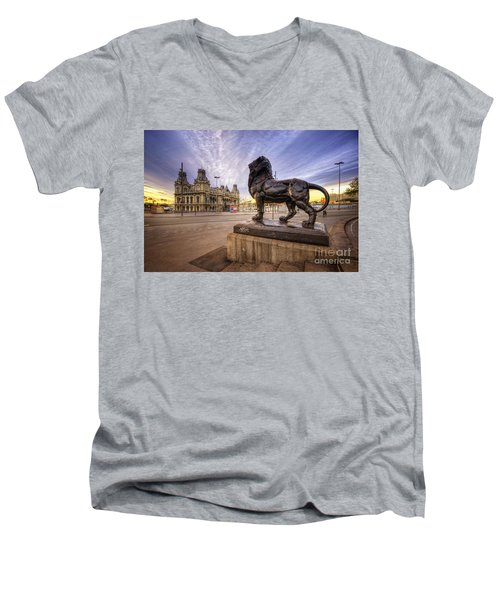 Puerto De Barcelona Sunrise Men's V-Neck T-Shirt