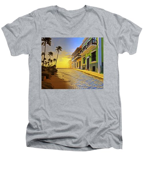 Puerto Rico Collage 2 Men's V-Neck T-Shirt by Stephen Anderson