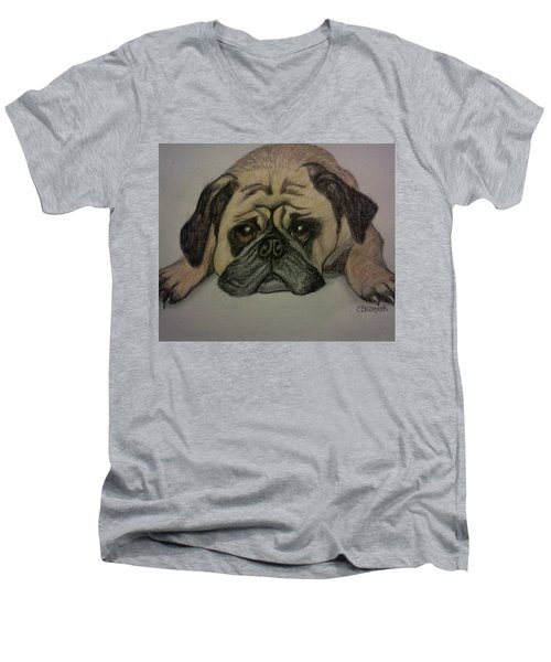 Pug Men's V-Neck T-Shirt by Christy Saunders Church