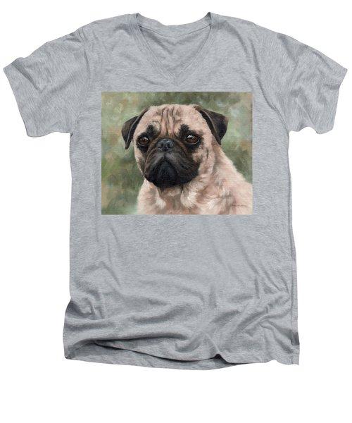 Pug Portrait Painting Men's V-Neck T-Shirt