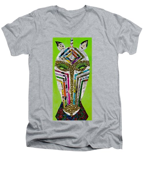 Men's V-Neck T-Shirt featuring the tapestry - textile Punda Milia by Apanaki Temitayo M