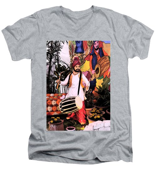 Men's V-Neck T-Shirt featuring the digital art Punjabi Dhol by Bliss Of Art