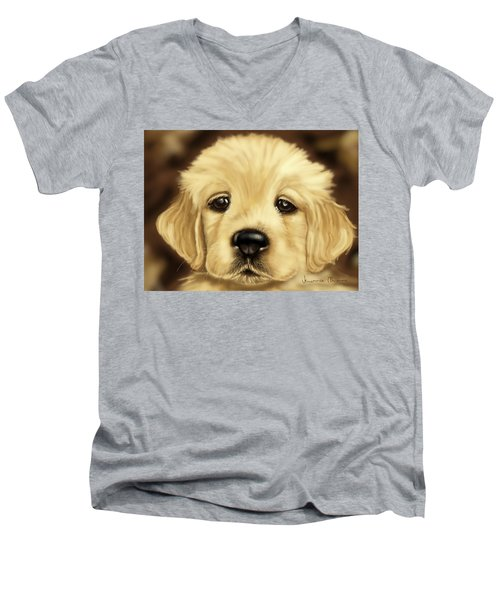 Puppy Men's V-Neck T-Shirt by Veronica Minozzi