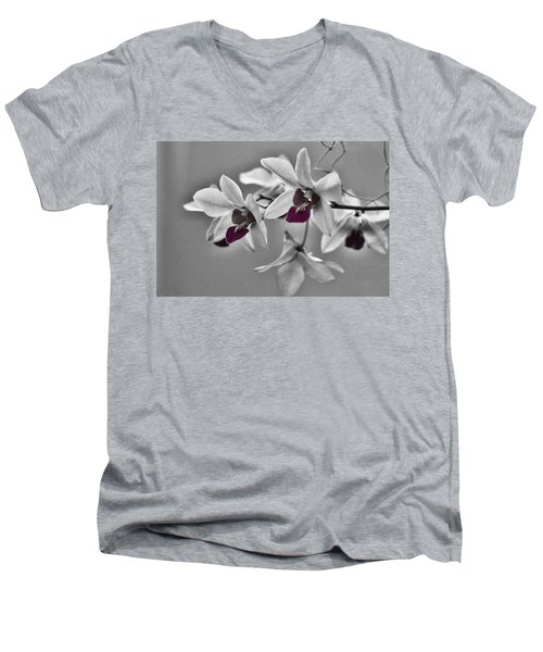 Purple And Pale Green Orchids - Black And White Men's V-Neck T-Shirt