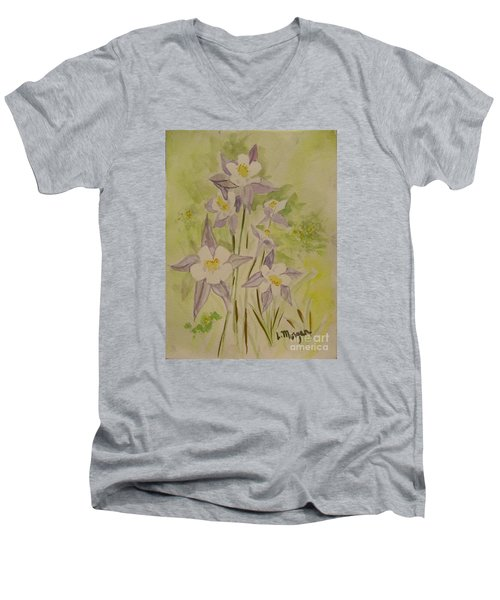 Purple And White Columbines Men's V-Neck T-Shirt