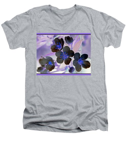 Purple Blue And Gray Men's V-Neck T-Shirt by Chris Anderson