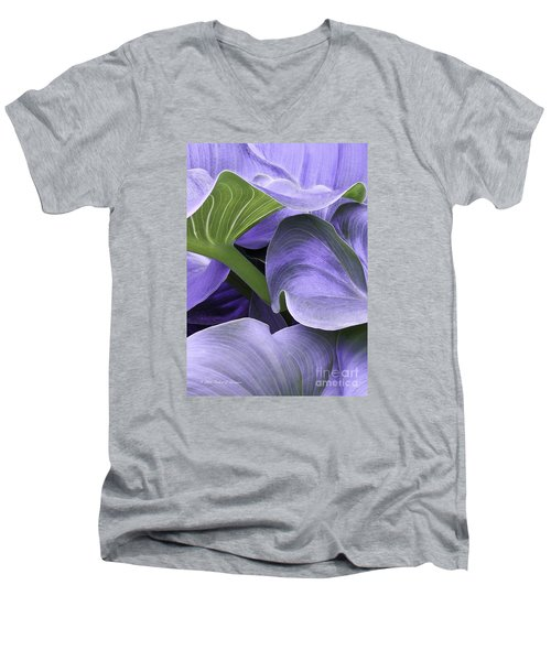 Purple Calla Lily Bush Men's V-Neck T-Shirt