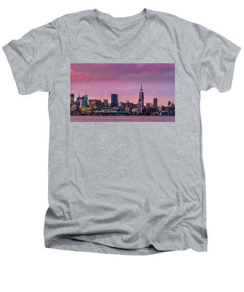 Men's V-Neck T-Shirt featuring the photograph Purple City by Mihai Andritoiu