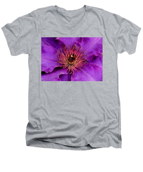 Men's V-Neck T-Shirt featuring the photograph Purple Clematis by Suzanne Stout