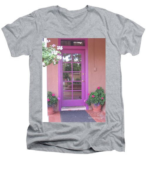 Men's V-Neck T-Shirt featuring the photograph Purple Door by Dora Sofia Caputo Photographic Art and Design